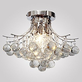 2017 Chrome Crystal Chandelier With Regard To Locoâ Chrome Finish Crystal Chandelier With 3 Lights, Mini Style (View 1 of 10)