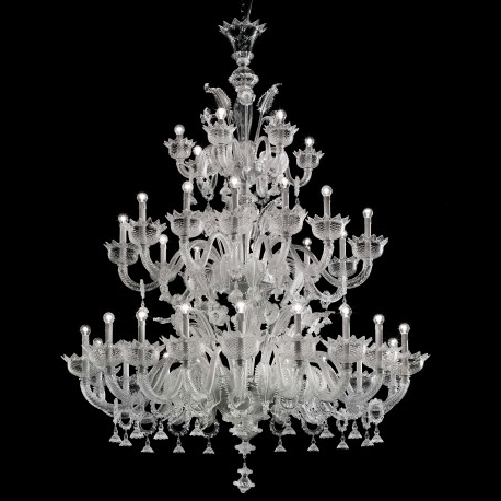 "2017 Large Glass Chandelier Regarding Casanova"" Large Three Tier Murano Glass Chandelier With Rings (View 1 of 10)"