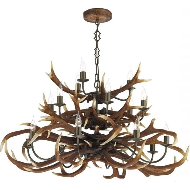 2017 Large Stag Antler Ceiling Pendant Light With 18 Separate Lights Inside Stag Horn Chandelier (View 1 of 10)