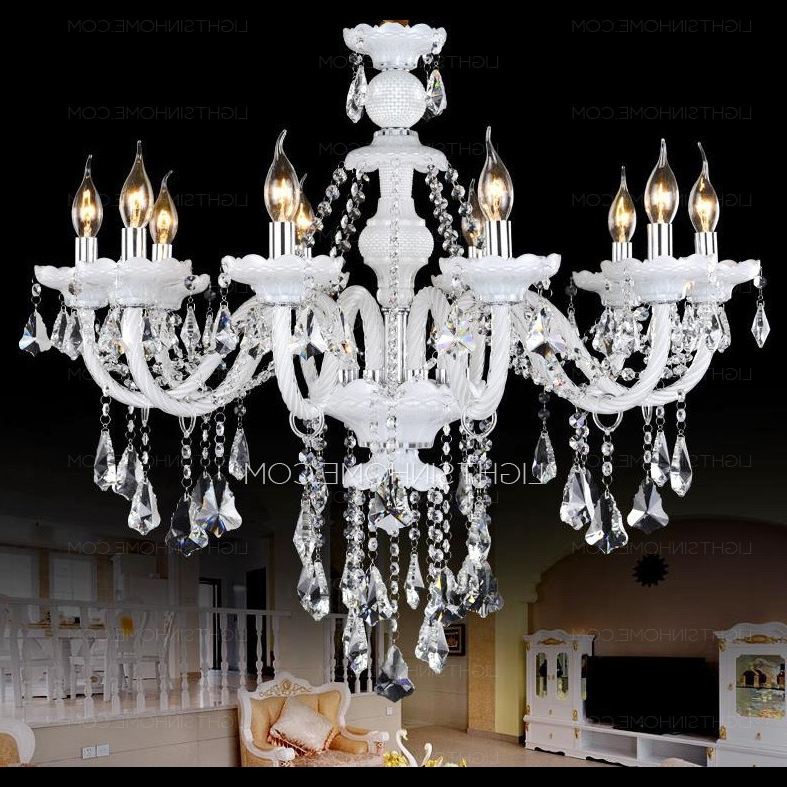 2017 Luxury 10 Light Candle Type Hanging White Crystal Chandelier In White And Crystal Chandeliers (View 2 of 10)