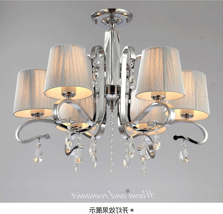 2017 Multiple Chandelier Fabric Shade Glass Crystalwhite Crystal In Crystal Chandeliers With Shades (View 1 of 10)