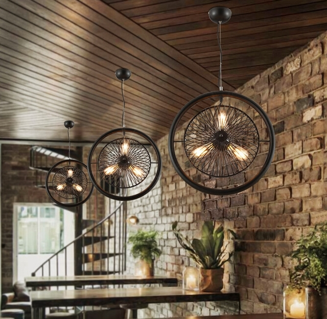 2017 New American Industrial Vintage Personality Bar Cafe Restaurant For Trendy Restaurant Chandelier (View 2 of 10)
