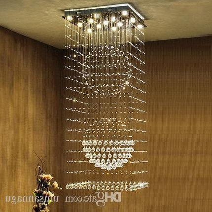 2017 Square Crystal Chandeliers Led Modern K9 Chandelier Lights Fixture With Regard To Long Hanging Chandeliers (View 1 of 10)