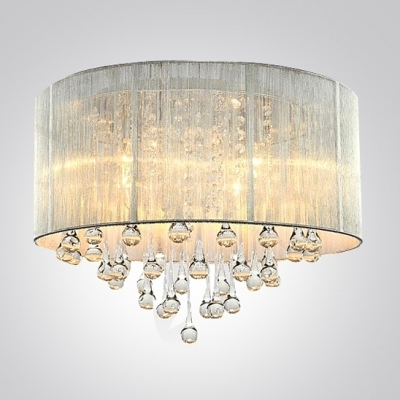 2017 Wall Mount Crystal Chandeliers With Silver Drum Shade And Rich Crystal Rainfall Flush Mount Chandelier (View 1 of 10)