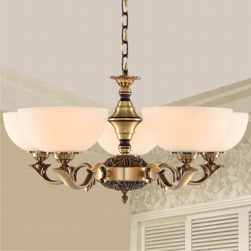 2018 Brass Chandeliers Within 5 Light Uplight Glass Shade Antique Brass Chandeliers (View 1 of 10)