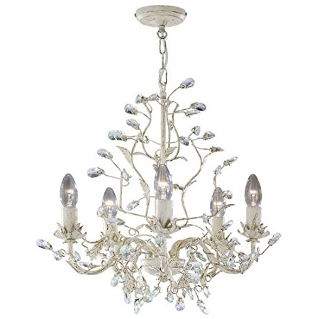 2018 Cream Gold Chandelier Inside Searchlight 2495 5Cr Almandite Cream Gold Finish 5 Light Chandelier (View 1 of 10)