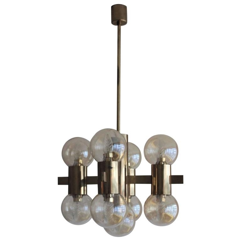2018 Italian Brass Smoked Glass Chandelier, 1970S For Sale At 1Stdibs Inside Smoked Glass Chandelier (View 2 of 10)
