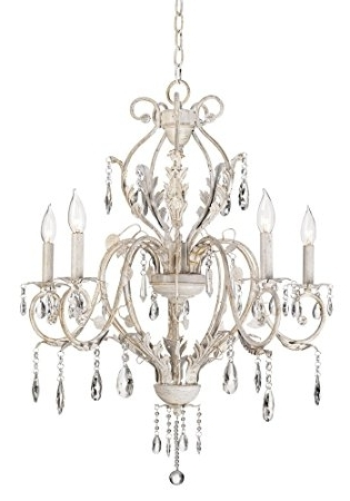 2018 Kathy Ireland Devon 5 Light Antique White Crystal Chandelier Intended For Shabby Chic Chandeliers (View 2 of 10)