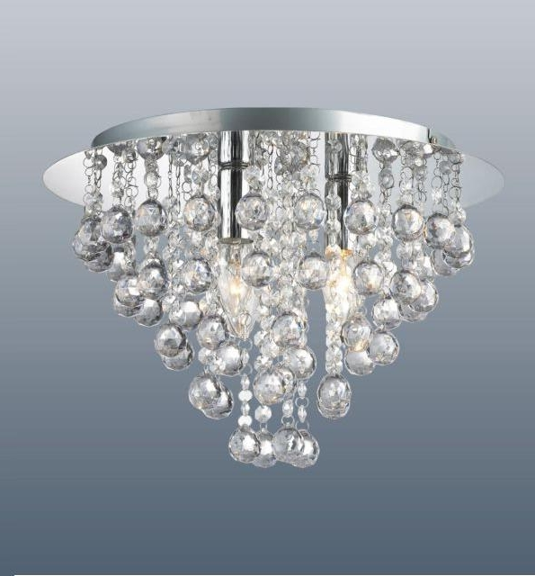 2018 Light Fitting Chandeliers Inside Round 3 Light Chrome Ceiling Lights Flush Fitting Crystal Droplet (View 1 of 10)