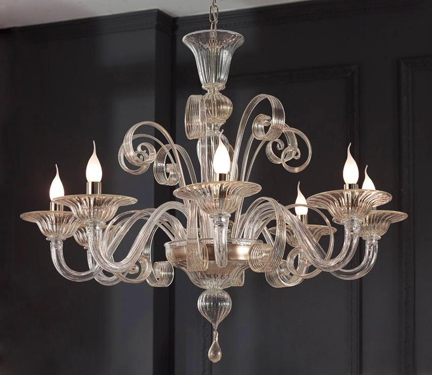 2018 Modern Murano Chandelier 8 Lights, Clear Gold Glass – Murano For Murano Chandelier (View 1 of 10)