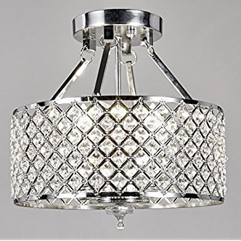 2018 New Galaxy Lighting Chrome Round Shade Crystal Semi Flush Mount Intended For Wall Mount Crystal Chandeliers (View 2 of 10)