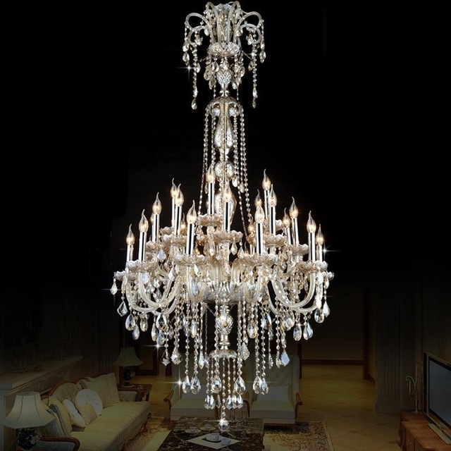 2018 Penthouse Antique Pendant Crystal Chandelier Led Cognac Crystal Pertaining To Long Hanging Chandeliers (View 2 of 10)