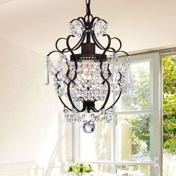 2018 Rosalie 1 Light Antique Bronze 11 Inch Crystal Chandelier – Free For Bronze And Crystal Chandeliers (View 1 of 10)