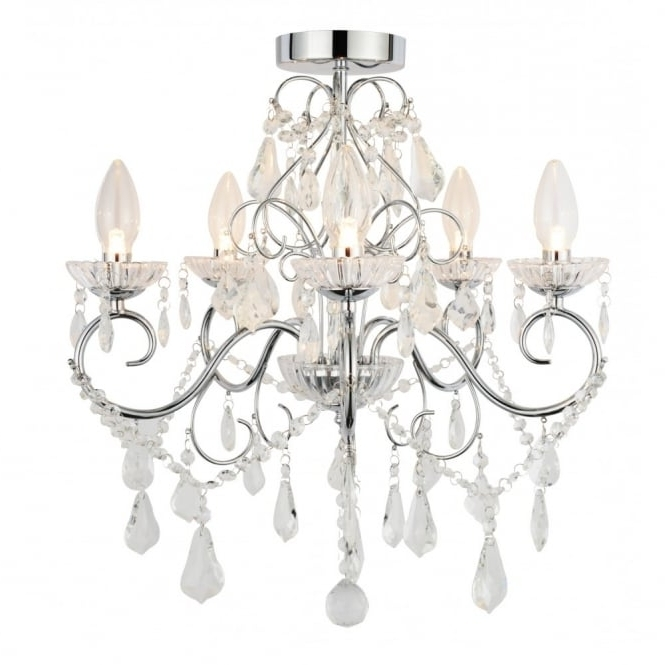 2018 Traditional Chrome & Glass Bathroom Chandelier – 5 Light Regarding Glass Droplet Chandelier (View 1 of 10)