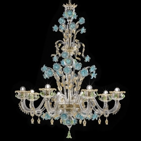 "2018 Turquoise And Gold Chandeliers In Celeste"" Murano Glass Chandelier – Murano Glass Chandeliers (View 1 of 10)"