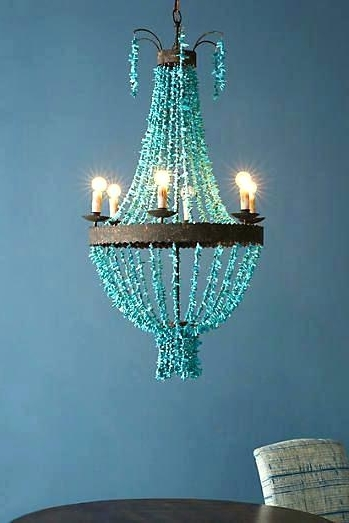 2018 Turquoise Beaded Chandelier Light Fixtures For Turquoise Beaded Chandelier Light Fixture Small Chandeliers For (View 2 of 10)