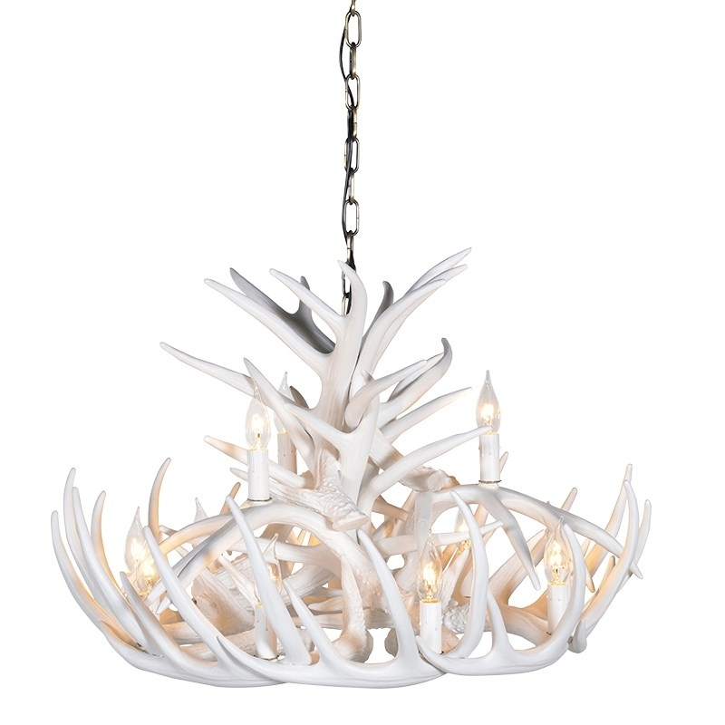 2018 Wilderness White 2 Tier Antler Chandelier Regarding White Antler Chandelier (View 2 of 10)