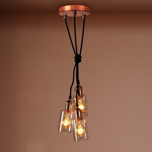 3 Bottle Glass Shade Retro Copper Chandelier Pendant Light Pertaining To 2018 Copper Chandelier (Gallery 5 of 10)