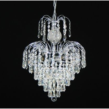 "4 Light – 13"" Asfour Lead Crystal 24Ct Gold Plated Waterfall Regarding Most Recently Released Crystal Waterfall Chandelier (View 2 of 10)"