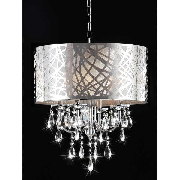 4 Light Chrome Crystal Chandeliers Intended For Latest 4 Light Chrome Crystal Chandelier – Free Shipping Today – Overstock (View 4 of 10)