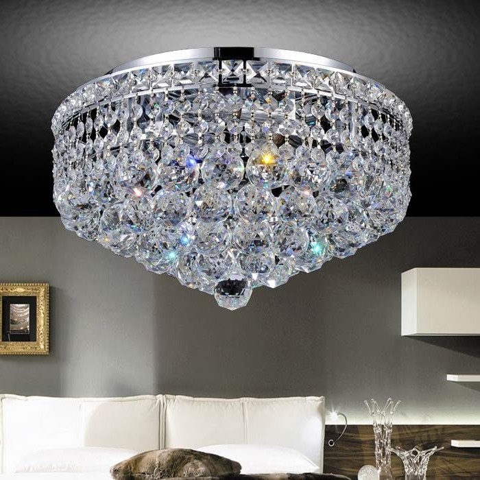 "4 Light Chrome Crystal Chandeliers Intended For Well Known Brizzo Lighting Stores. 16"" Primo Transitional Round Crystal Flush (Gallery 9 of 10)"