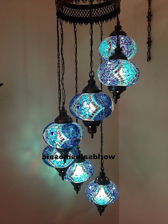 7 Ball Large Mosaics Turkish Moroccan Hanging Glass Mosaic Helezon With Regard To Current Turquoise Ball Chandeliers (View 1 of 10)