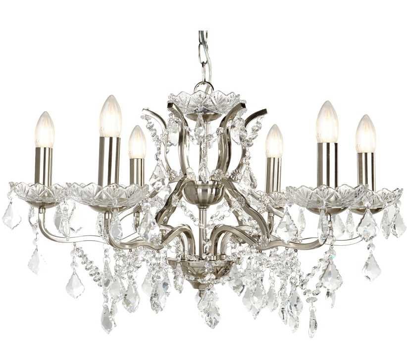 7 Light Chandeliers Regarding Favorite Searchlight Paris 6 Light Chandelier, Satin Silver Finish With Clear (Gallery 9 of 10)