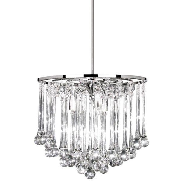 8 Light Polished Chrome Chandelier With Glass Droplets Inside Well Liked Chrome And Glass Chandelier (Gallery 7 of 10)