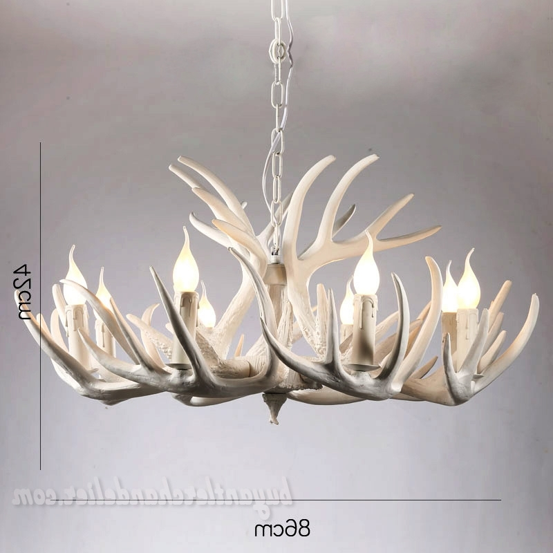 9 + 3 Elk Pure White Antler Chandelier Living Room Lighting Fixtures In Recent White Antler Chandelier (Gallery 4 of 10)