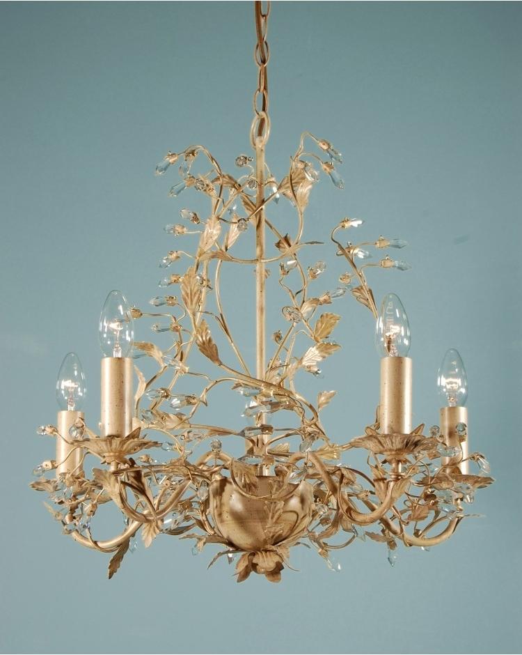 Adele Chandelier Cream/gold Leaf 5 Light Crystal Ceiling Light Inside Recent Cream Crystal Chandelier (View 1 of 10)