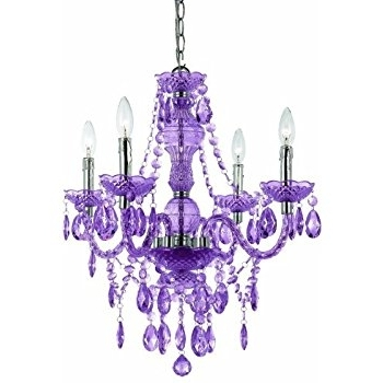 Af Lighting 8353 4H Naples Four Light Mini Chandelier  Light Purple Pertaining To Most Current Purple Crystal Chandelier Lighting (View 2 of 10)