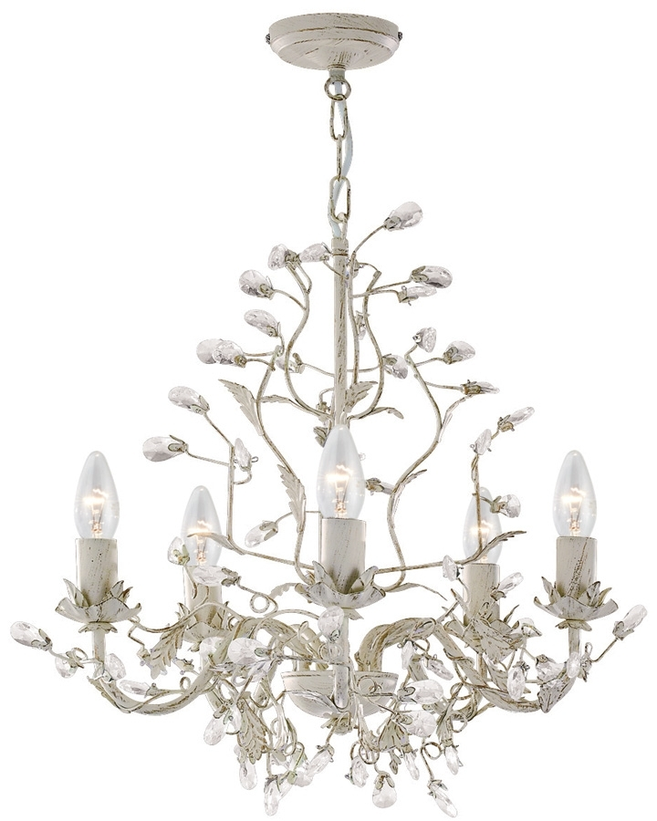 Almandite Cream / Gold 5 Light Chandelier With Crystal 2495 5Cr Regarding Well Liked Cream Chandelier Lights (View 1 of 10)