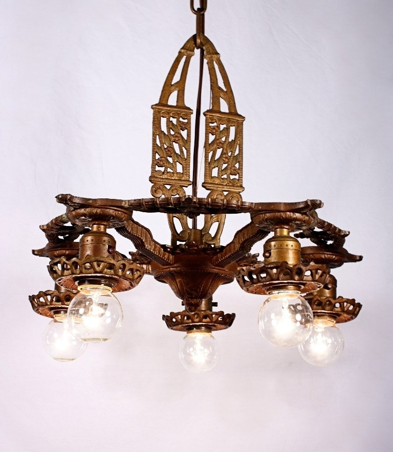 Antique Art Deco Five Light Cast Iron Chandelier – Preservation Within Best And Newest Cast Iron Antique Chandelier (View 1 of 10)