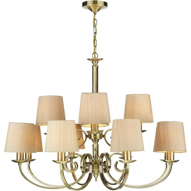 Antique Brass 12 Light Chandelier With Taupe Silk Fabric Shades Within Most Popular Large Brass Chandelier (View 4 of 10)