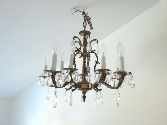 Antique Brass Chandelier // Vintage Spanish Style Ornate Large Within Widely Used Vintage Brass Chandeliers (View 1 of 10)