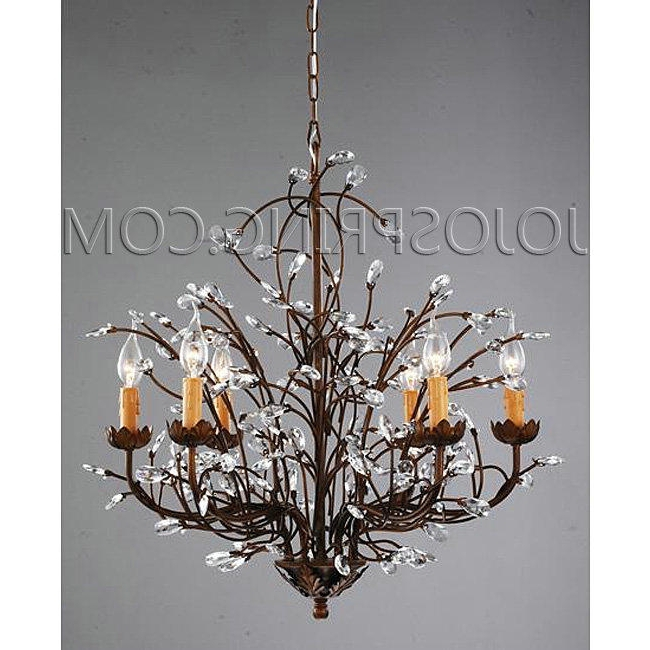 Antique Bronze 6 Light Crystal And Iron Chandelier Antique Bronze With Well Known Bronze And Crystal Chandeliers (View 2 of 10)