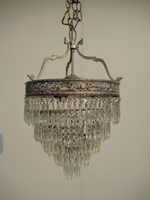 Antique Crystal Chandeliers  1920 Brass 5 Tier Waterfall Crystals For Favorite Waterfall Crystal Chandelier (View 4 of 10)