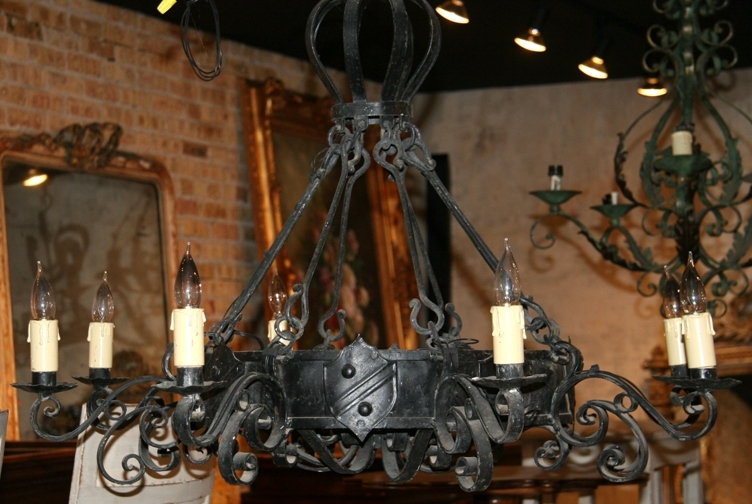 Antique French Iron Chandelier With Shield Accents – Sold – For Most Popular Antique Black Chandelier (View 7 of 10)