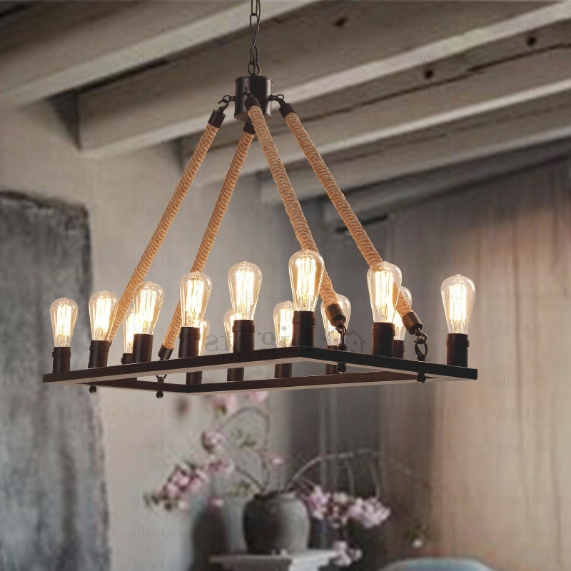 Antique Style Chandeliers Throughout Latest Antique 14 Light Rope Rectangular Industrial Style Lighting (View 4 of 10)