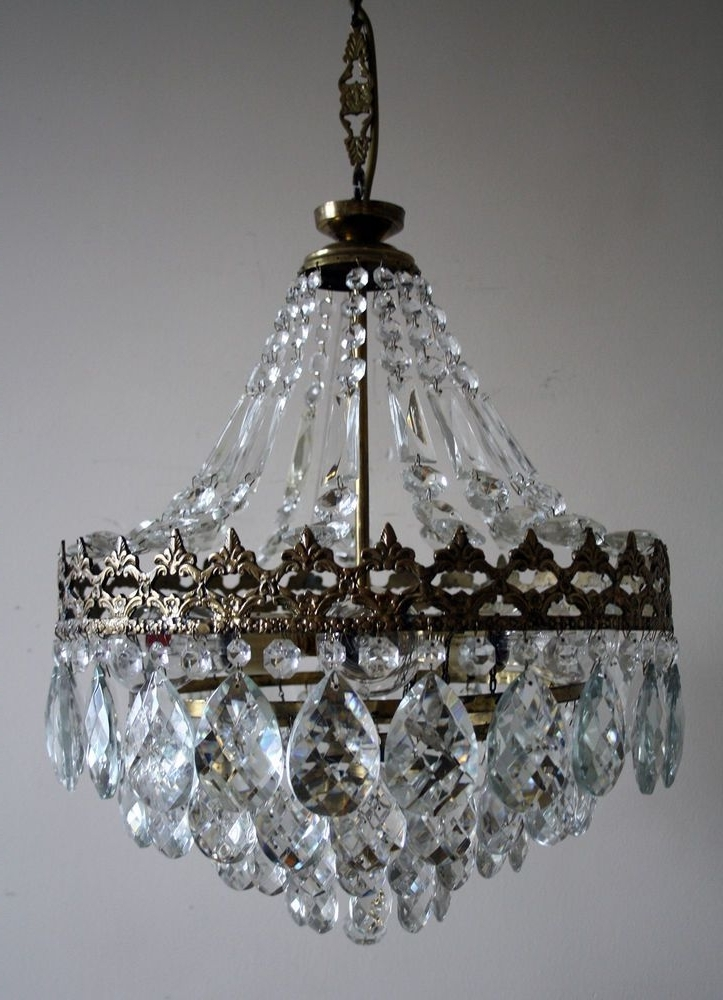 Antique * Vintage French Basket Style Brass & Crystals Chandelier Throughout Preferred Vintage French Chandeliers (View 4 of 10)