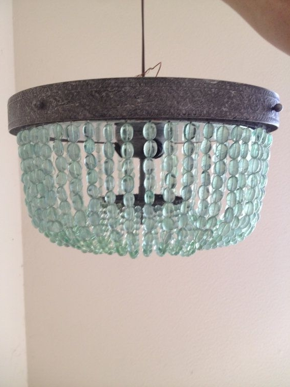 Aqua (Light Turquoise, Green) Vintage Style Beaded Chandelier Inside Well Known Turquoise Blue Beaded Chandeliers (Gallery 6 of 10)