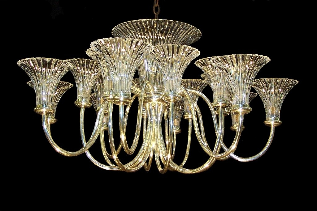 Art Deco Chandeliers Regarding Favorite Rib Fluted Trumpet Shade Chandelier Wilkinson Plc Within Art Deco (View 5 of 10)