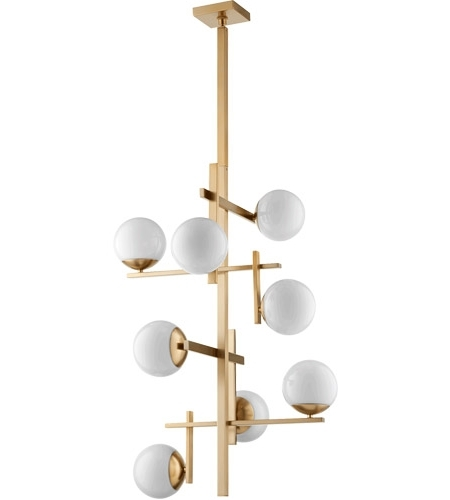 Atom Chandeliers For Most Recently Released Quorum 628 8 80 Atom 25 Inch Aged Brass Chandelier Ceiling Light, Opal (View 2 of 10)