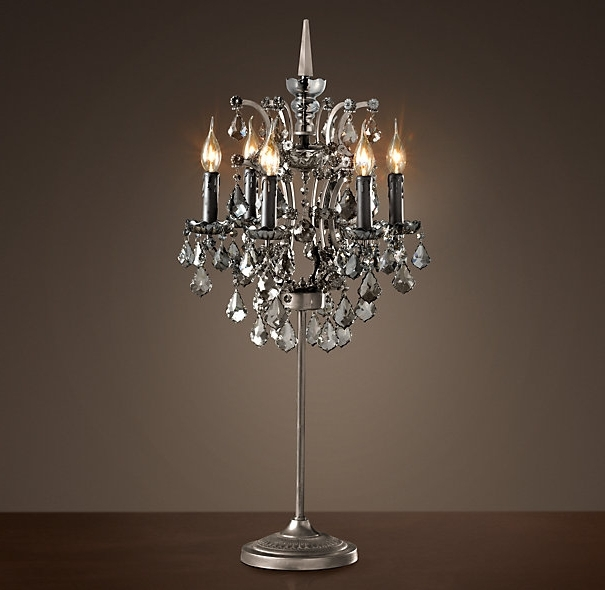 Attractive 19Th C Rococo Iron Crystal Table Lamp Smoke This Is In Throughout Most Popular Table Chandeliers (View 2 of 10)