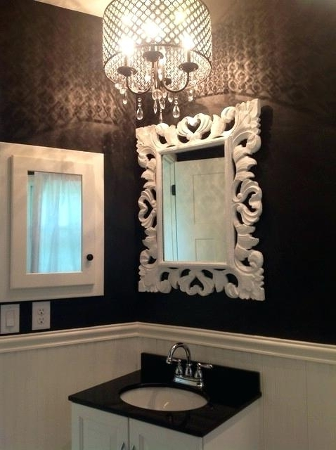 Bathroom Chandelier Together With Black And White Bathroom With Within Current Crystal Bathroom Chandelier (View 1 of 10)