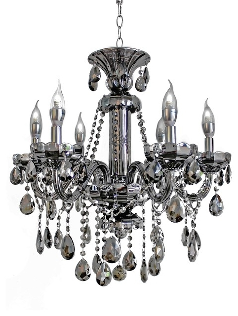 Best And Newest 6 Light Smoked Mirrored Silver Crystal Chandelier For Awesome Intended For Silver Chandeliers (View 3 of 10)