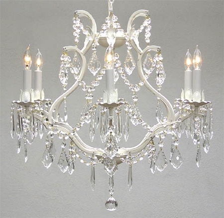 Best And Newest A83 White/3530/6 Wrought Iron Chandelier Chandeliers, Crystal Inside White And Crystal Chandeliers (View 3 of 10)