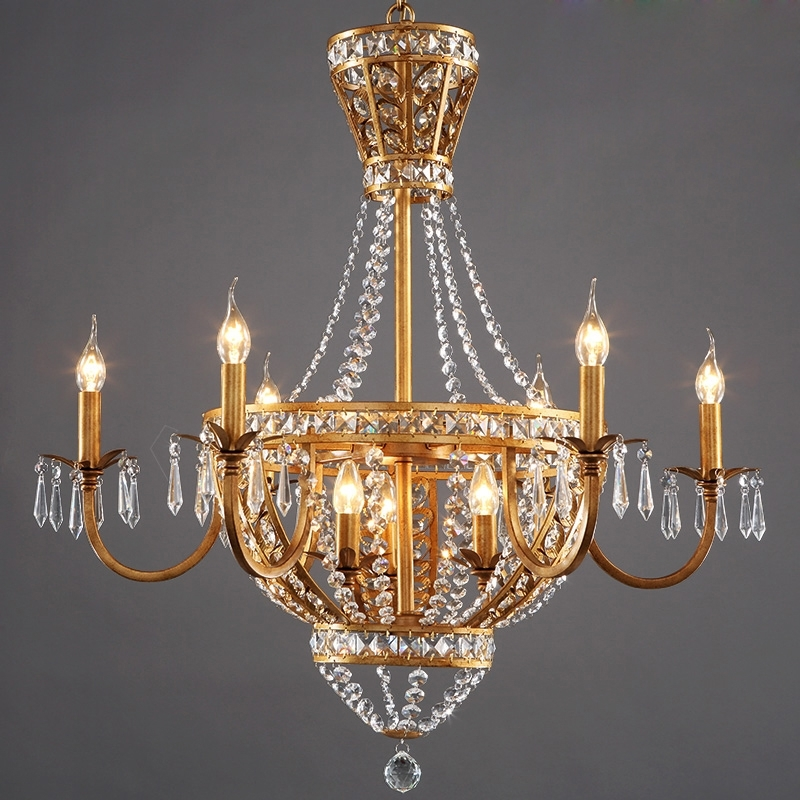 Best And Newest American Vintage Rustic French Style Crystal Chandelier Light Home With French Chandelier (View 1 of 10)