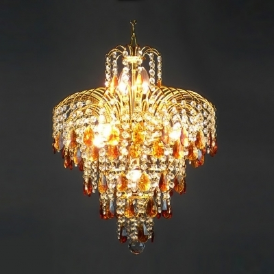 Best And Newest Crystal Waterfall Chandelier For Fountain Amber Crystal Teardrops And Clear Crystal Beads Waterfall (View 3 of 10)