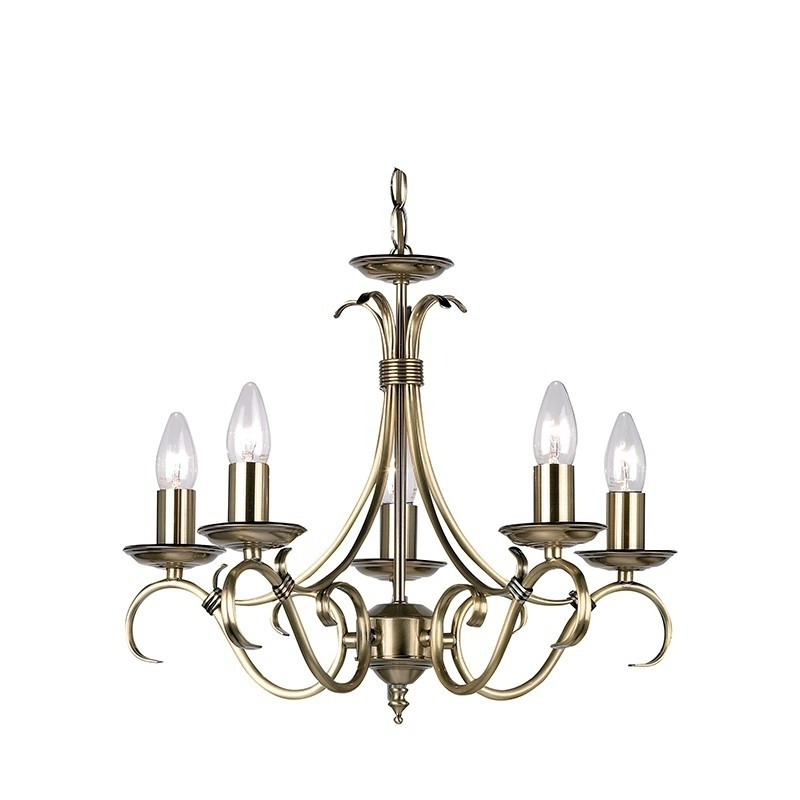 Best And Newest Endon Lighting Chandeliers Regarding Endon Lighting Bernice 2030 5An Antique Brass Finish 5 Light Chandelier (View 1 of 10)